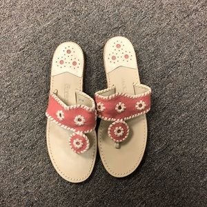Pink and white canvas Jack Rogers Jackie sandals
